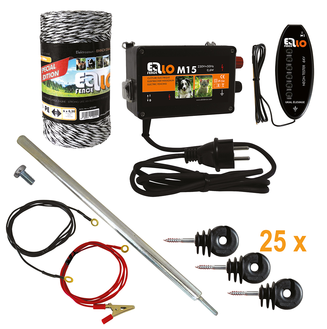 Ellofence_Hobby_Set_Litze_M15+Litze+Isolator+Erdpfahl